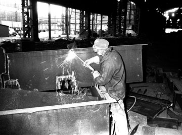Welder in Consett Steel Works