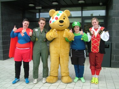Thumbs up from Pudsey and the girls.