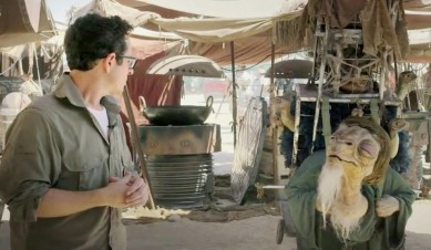 Episode VII Director, JJ Abrams meets on of the new characters on location in Abu-Dhabi