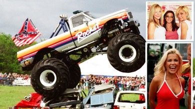 """Vehicles and celebrities: The """"Rocket"""" at the Northumberland Motor Show, Atomic Kitten and Melinda Messenger in Whitley Bay."""