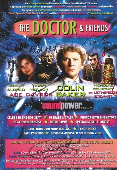 """South Shields """"The Doctor and Friends"""" convention poster featuring all special guest autographs. (Image Jim Callan)"""
