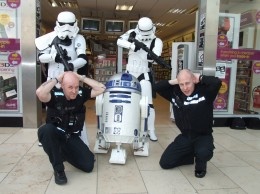 Even Geordie Police Officers are no match for the Stormtroopers of the Empire.
