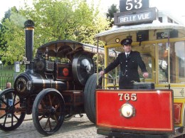 The popular Beamish Museum Steam Wagons and Trams line up for visitors.