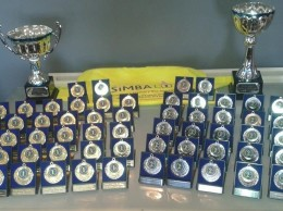 The trophies and medals that were up for grabs at the Simba Charity Football Tournament