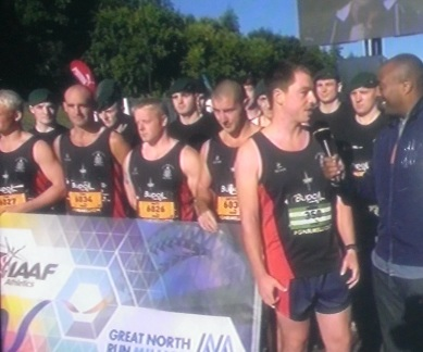 Royal Marines with the IAAF Great North Run Banner and Colin Jackson
