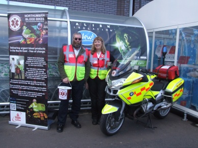 Northumbria Blood Bike riders, Philippa Bromley and Paul Cain pictured with one of the impressive blood bikes