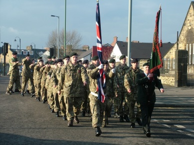 The Remembrance Sunday parade leaving Tesco in Annfield Plain on their way to the service at St Aiden's Church.