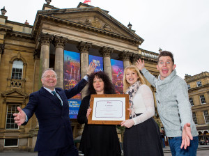 L-R: NAS Autism Accreditation Director - Robert Pritchett, Theatre Royal Director of Operations - Dawn Taylor, NAS Senior Accreditation Advisor - Christine Flintoft-Smith, Theatre Royal Panto Star Danny Adams