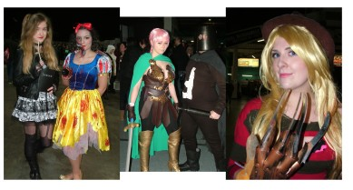 The cosplayers arrive at the Arena