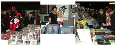The myriad of dealers stalls with (centre) Newcastle based artist Scott Robinson and wife, Carly,