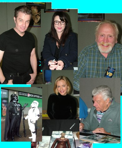 Clockwise from top James Marsden, Eve Myles, James Cosmo, Dave Prowse, Kristanna Loken and Darth Vader keeping the rain away.