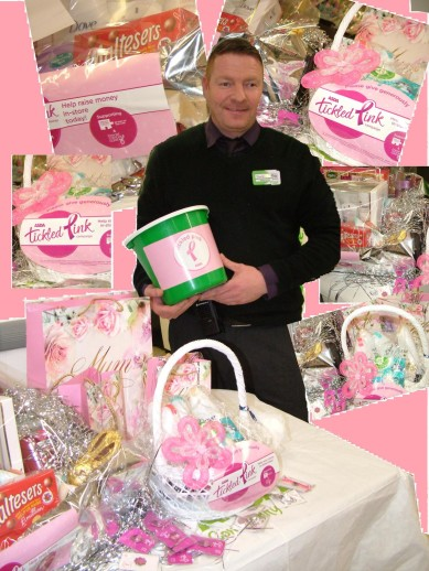 ASDA Stanley Assistant Branch Manager, David Savory, launches the local 2015 Tickled Pink Campaign surrounded by a selection of fundraising items.