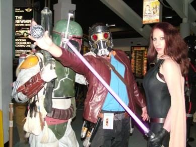 Boba Fett and Mara Jade from the 99th Star Wars Garrison get gatecrashed by Starlord from Guardians of the Galaxy.