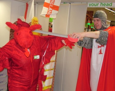 The gallant St George (Gareth) tackles the Dragon (Ann)