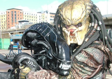 Even the adversarial Predator and Aliens get in on the Cosplay fun.