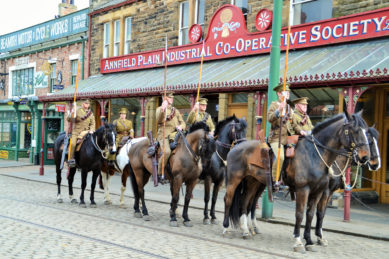 The cavalry parades through the Victorian Town Centre at Beamish