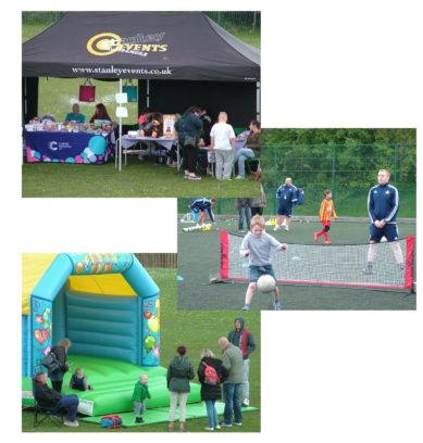 The open day attractions included a bouncy castle, football coaching and other under-tent events