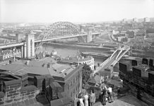 A-view-of-the-Tyne-Bridge-and-the-Swing-Bridge-from-the-Castle-Keep-Newcastle-upon-Tyne-August-1963