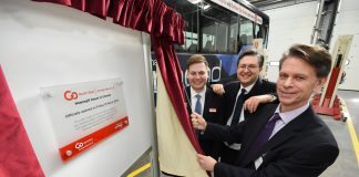 Martijn Gilbert (MD at Go North East), Cllr Simon Henig (Leader of Durham County Council) and David Brown (Group Chief Executive of Go-Ahead Group) Image Courtesy of http://newsroom.gonortheast.co.uk/images/martijn-gilbert-md-at-go-north-east-cllr-simon-henig-leader-of-durham-county-council-and-david-brown-group-chief-executive-of-go-ahead-group-1601796 (Creative Commons Attribution)