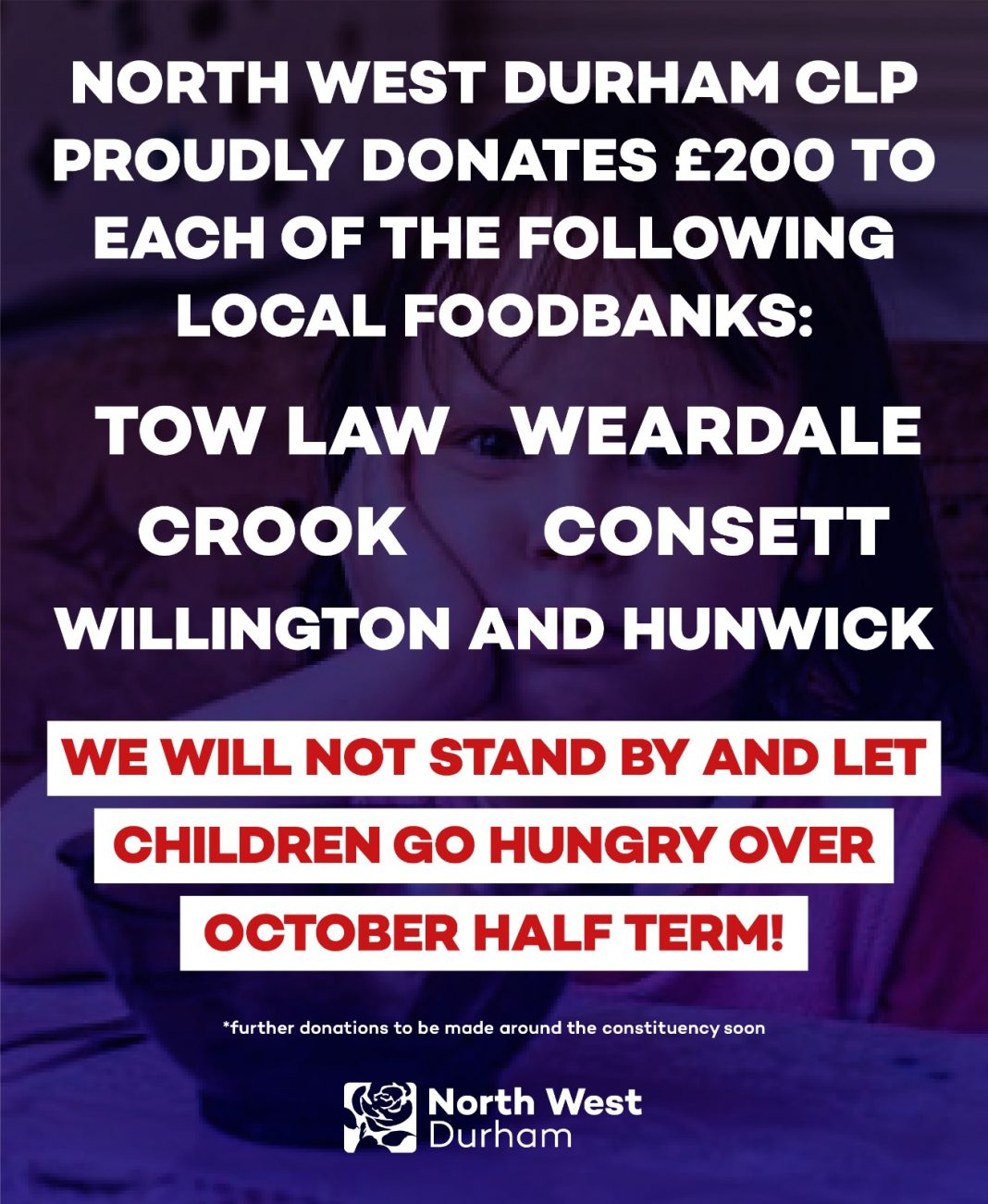 Local Food Banks Receive £1,000 From North West Durham Labour Party