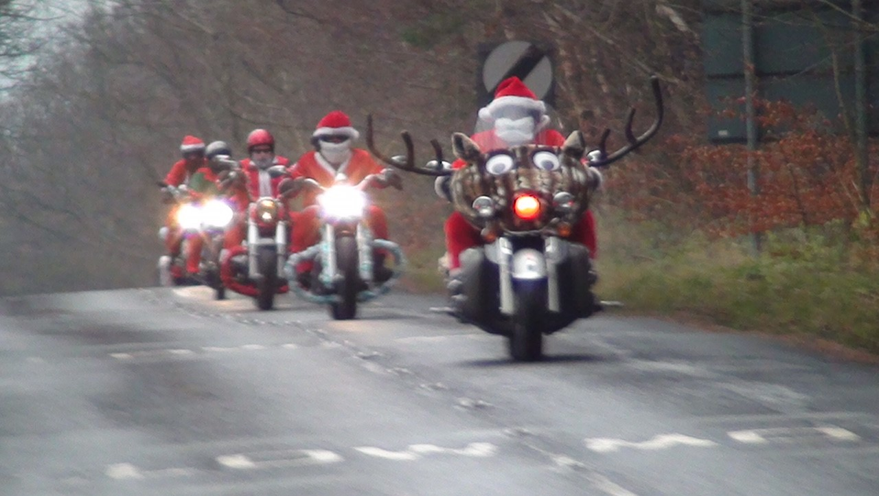 Santas Riding Across Consett To Raise Money For The Brain Tumour Research Charity