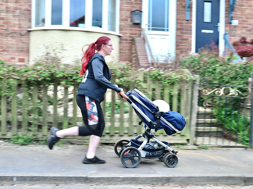 8. Exercise with the family – During Lockdown when Gyms and Fitness groups were closed, people had to stay fit and healthy in what ever way they could. Emma chose to go running with her baby. (Image: Debbie Todd)