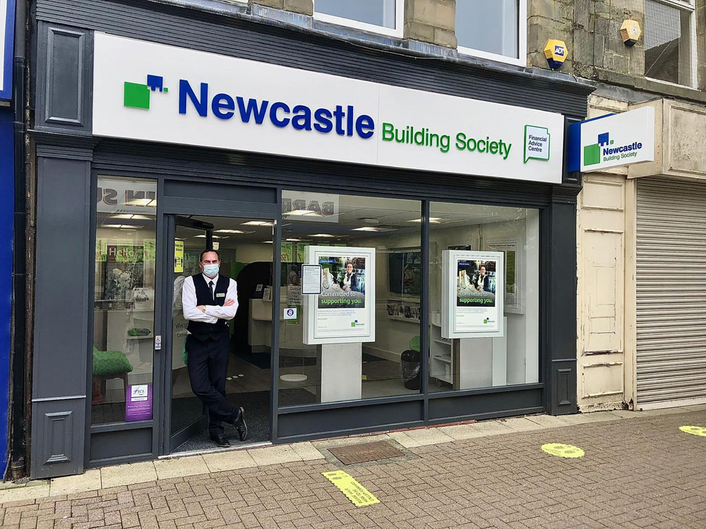 3. Newcastle Building Society - Chris Moon has worked at Newcastle Building Society throughout lockdown. He has travelled every day using public transport as he does not drive. His branch has stringent Covid-19 rules including limited customers inside and marks on the floor to show people where to stand and adhere to social distance measures. (Image: Debbie Todd)