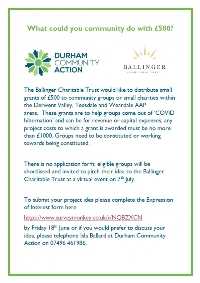 Post Covid Grants for Derwent Valley Project